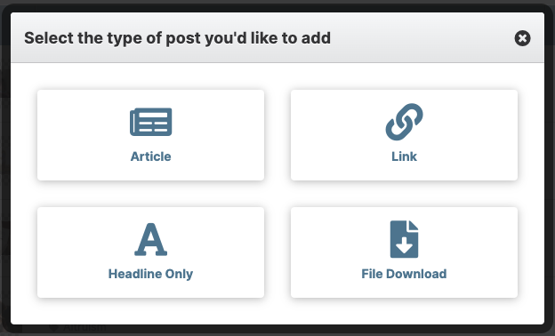 Screenshot of display to select the type of post you'd like to add